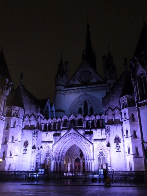 Royal Court of Justice at night